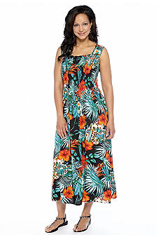 Kim Rogers Plus Size Floral Print Smocked Maxi Dress