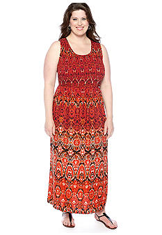 Kim Rogers Plus Size Printed Smocked Maxi Dress