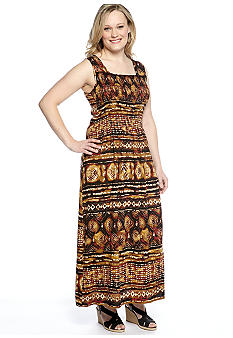 Kim Rogers Plus Size Tribal Print Smocked Maxi Dress