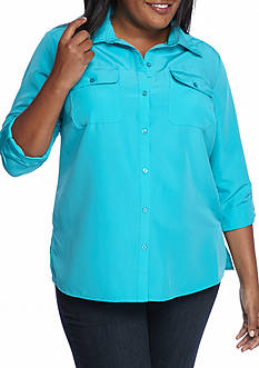 Kim Rogers 3/4 Sleeve Flap Pocket Button Front Roll Tab Top