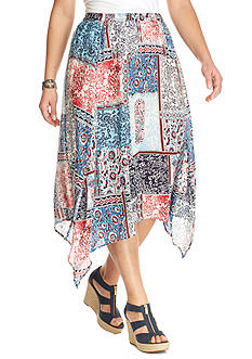 Kim Rogers Plus Size Printed Seamed Skirt