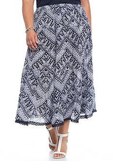 Kim Rogers Plus Size Printed Tiered Skirt