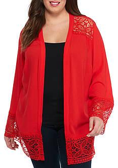 Kim Rogers Plus Size Long Sleeve Crochet Trim Cozy Top