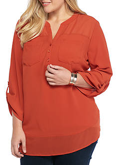 Kim Rogers Plus Size Three Quarter Sleeve Chiffon Trimmed Top
