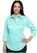 Kim Rogers® Plus Size Solid Mixed Media Button Front Blouse