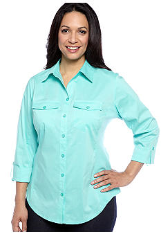 Kim Rogers Plus Size Solid Mixed Media Button Front Blouse
