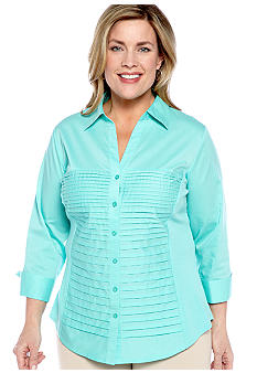 Kim Rogers Plus Size Tucked Front Mixed Media Blouse