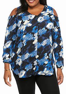 Kim Rogers Plus Size Open Cold Shoulder Print Blouse