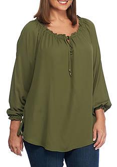 Kim Rogers Plus Size Three Quarter Sleeve Blouse