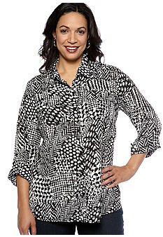 Kim Rogers Plus Size Printed Equipment Shirt