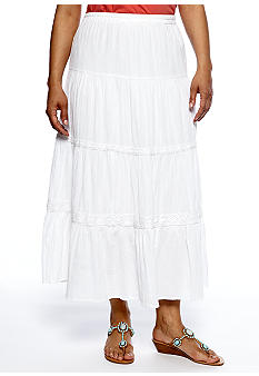 Kim Rogers Plus Size Solid Gauze Tiered Maxi Skirt