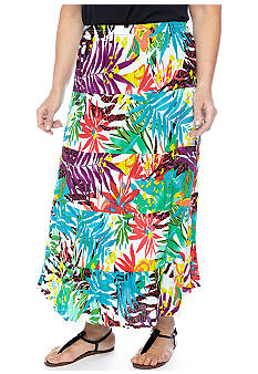 Kim Rogers Plus Size Printed 5-Tier Gauze Skirt