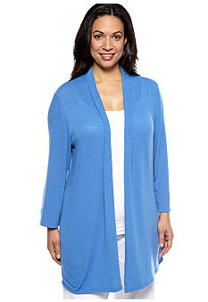 Kim Rogers Plus Size Solid Knit Cardigan