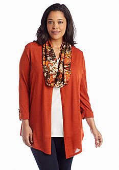 Kim Rogers® Plus Size Cardigan Printed Scarf 3Fer