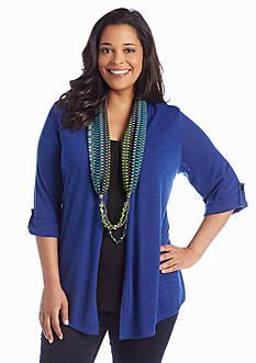 Kim Rogers® Plus Size Roll Tab Sleeve Printed Scarf 3fer