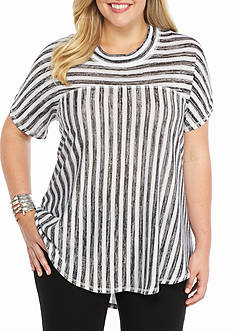 Kim Rogers Plus Stripe Knit Top
