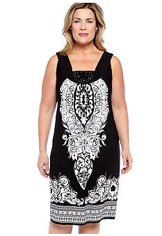 Kim Rogers Plus Size Printed Embellishment Dress