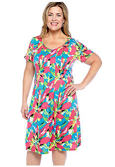 Kim Rogers Plus Size Printed Pleated Front Dress