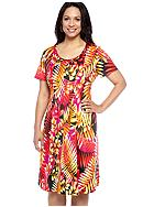 Kim Rogers® Plus Size Printed Pleated Front Dress