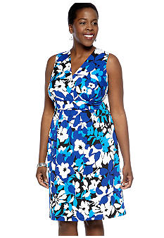 Kim Rogers Plus Size Printed Surplus Dress