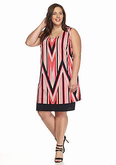 Kim Rogers Plus Size Printed Sleeveless Dress