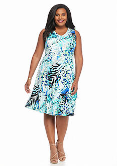 Kim Rogers Plus Size Printed V-Neck Dress