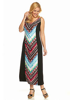 Kim Rogers Plus Size Sleeveless Printed Maxi Dress