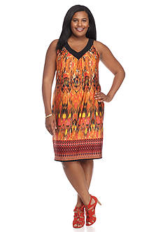 Kim Rogers Plus Size Cleo Neck Printed Dress