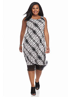 Kim Rogers Plus Size High Low Printed Dress