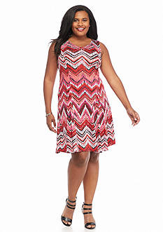 Kim Rogers Plus Size V-Neck Abstract Chevron Print Dress