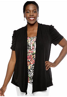 Kim Rogers Plus Size Solid ITY 2fer Top with Printed Lace Inset