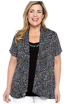 Kim Rogers Plus Size Printed ITY 2fer with Jeweled Inset