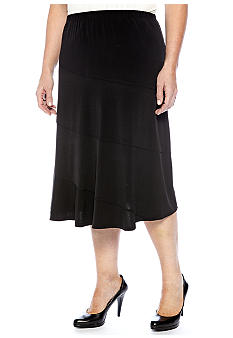 Kim Rogers Plus Size Solid Diagonal Seamed Skirt