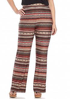 Kim Rogers Plus Size Striped Print Pants