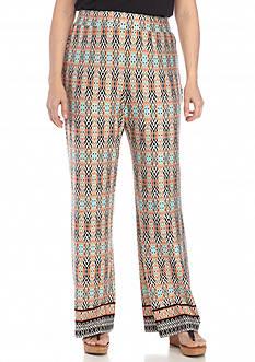 Kim Rogers Plus Size Border Print Pants