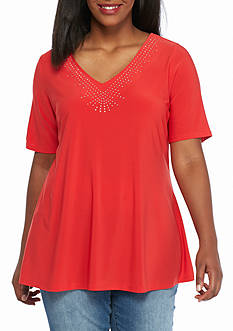 Kim Rogers Elbow Sleeve V-Neck Studded Top