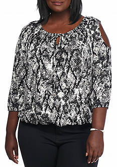 Kim Rogers Plus Size Cold Shoulder Knit Top