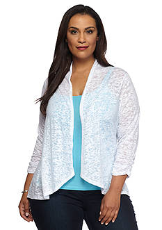 Kim Rogers Plus Size Knit Burnout Cozy Top