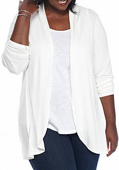 Kim Rogers Plus Size Lace Back Cozy Cardigan