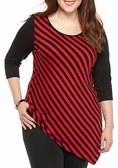 Kim Rogers Plus Size Asymmetrical Hem Knit Top