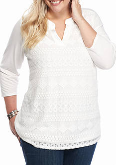 Kim Rogers Plus Size Lace Front Split Neck Top