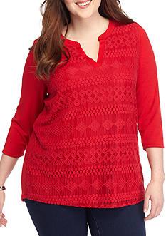 Kim Rogers Plus Size Lace Front Split Neck Knit Top