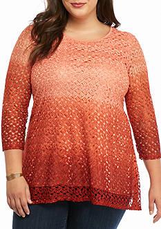 Kim Rogers Plus Size Ombre Lace Sharkbite Top