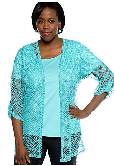 Kim Rogers Plus Size Lace Roll Tab Sleeve 2fer