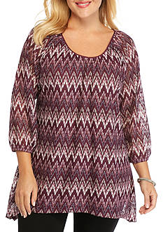 Kim Rogers Plus Size Sharkbite Scoop Knit Top