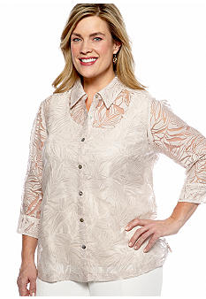 Kim Rogers Plus Size Floral Print 2-for-1 Blouse