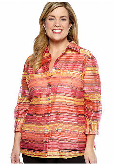 Kim Rogers Plus Size Stripe 2-in-1 Burnout Blouse
