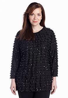 Kim Rogers® Plus Size Glitter Eyelash Top