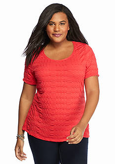 Kim Rogers Plus Size Solid Pucker Knit Shell