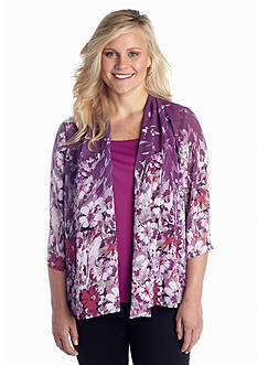 Kim Rogers® Plus Size Shell with Printed Jacket